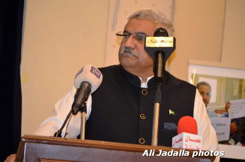 السفير الباكستاني في الأردن يناشد العالم دعم بلاده في قضية كشمير