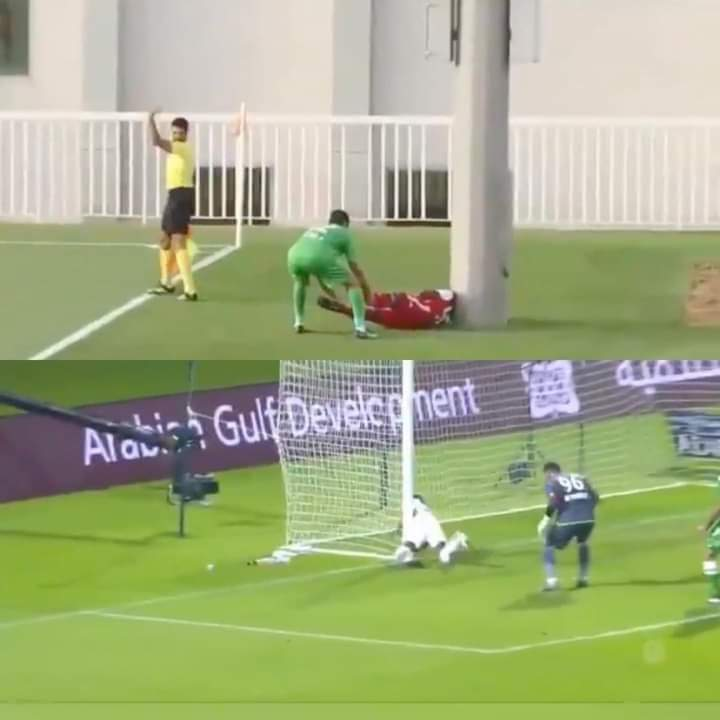 أحمد ربيع لاعب الجزيرة الإماراتي يتعرض  لإصابة قوية أثناء مباراة فريقه أمام خورفكان